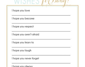 INSTANT DOWNLOAD wishes for baby shower game blue gold confetti baby wishes