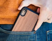 iPhone X Wood Case, Real Wood iPhone X Case, Walnut Wood Case - SHK-W-X