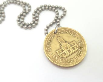 Argentina Coin Necklace  - Stainless Steel Ball Chain or Key-chain