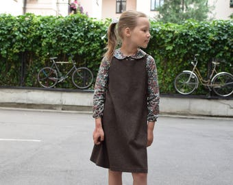 Girls wool pinafore dress Toddler girls wool dress Girls clothes Family photo Back to school Autumn Winter dress Toddler pinafore dress