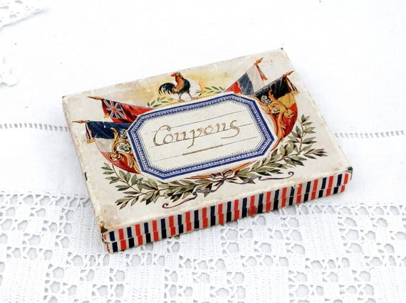 Antique French and Dutch, Tricolor Flags with Belgian and British Flag and French Roaster Paper Covered Metal Tin with Label, Collectable