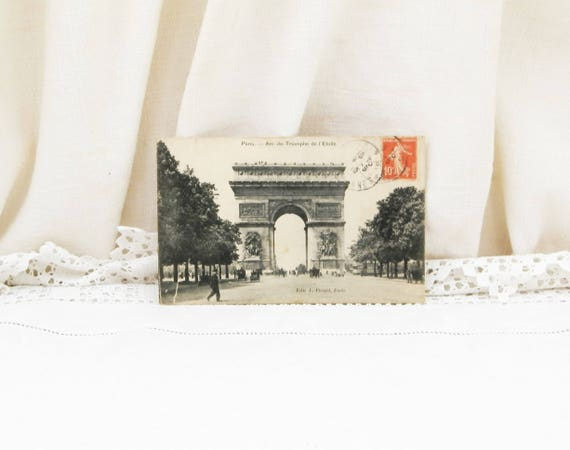 Antique French Postcard Arc de Triomphe the Top of the Champs Elysees in Paris with Horse Carriages and Early Automobile  Car Posted in 1910