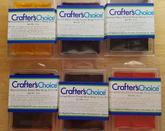 Soap Colorant Set - 6 Crafter's Choice Stained Glass Colors - yellow, orange, blue, purple, green, red