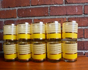 Vintage Georges Briard Yellow Gold Basket Weave Low Ball Old Fashioned Tumblers. Drinking Glasses. Mid Century Mod Drinkware. Retro Barware