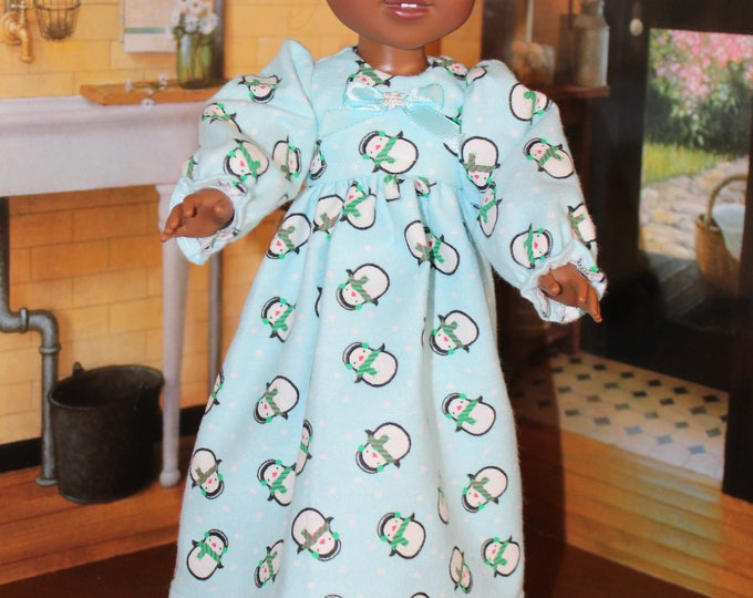 Nightgown with Snowman Print Fleece Pajamas with Slippers to fit the wellie wisher, Heart to Heart , other 14 5 inch dolls FREE SHIPPING