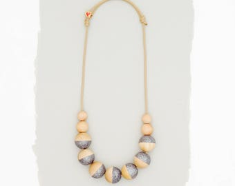Simple Wood Necklace // Dip Dyed // Navy Glitter
