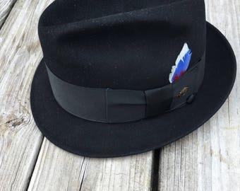 Men's Vintage Dobbs Black Felt Fedora Hat in Box Size 7 1/8 Free Shipping