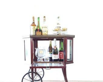 Antique Bar Cart ~ Beveled Glass Display Serving Cart ~ Tea Cart ~ Rolling Cart