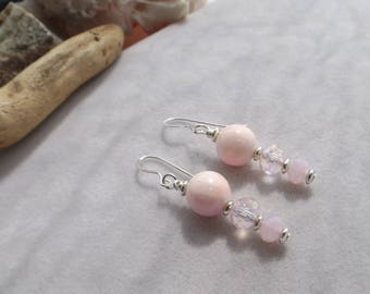 Pink, Silver Beaded Handmade Earrings with Agate, Glass, Silver Beads, Drop, Dangle, Gift for Her, Wedding Jewelry, Bridal Earrings, Summer