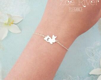 Personalized silver rabbit bracelet. Choose gold or silver, bunny rabbit bracelet. Elegant rabbit bracelet