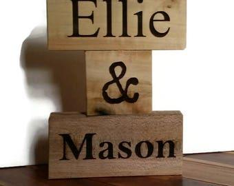Personalized Name Blocks, Desk Name Block, Personalized wedding name blocks, wood blocks, baby name blocks, custom name, laser engraved