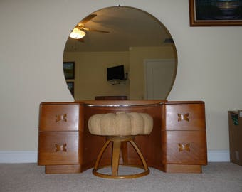 REDUCED PRICE Vintage Mid Century Modern Heywood Wakefield Deluxe Rio Vanity with Mirror and Matching Pouffe