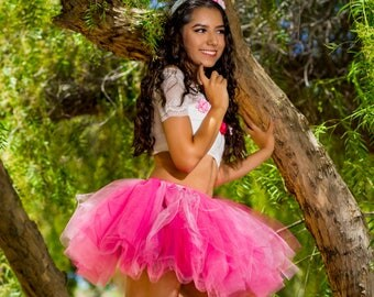 Adult tutu, bright pink tutu skirt, tulle tutu, rave edc raver outfit, ballerina tutu, dance tutu, color run tutu,80s clothes