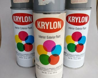 3 cans notch top Krylon spray paint dove grey metallic silver
