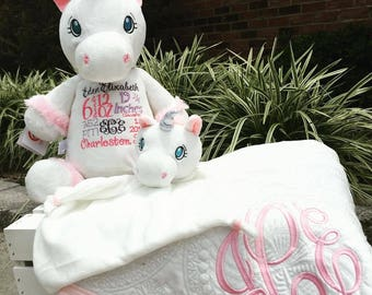 Embroidered Stuffed Animals, Birth Announcement Stuffed Animal, Birth Stats Stuffed Animal