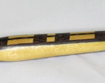 Goldtone Tablet Stylus -  Laminated light and dark wood with Rubber Tip and Pocket Clip