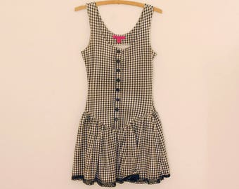 Sleeveless Black and White Gingham Knit Dress - Mid-Late 90s - Betsey Johnson