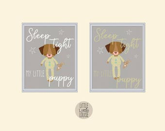 Donnie Dog – sleep tight my little puppy, printable nursery wall art.  Perfect for a hipster, woodland nursery.