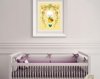 Stanley Sheep – a printable sheep wall art poster with a beautiful flowered wreath.  Perfect for a hipster, woodland nursery.