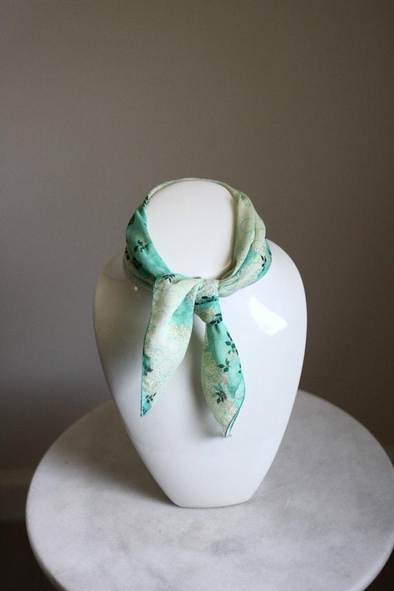1970s light green floral scarf // vintage floral scarf // vintage purse scarf