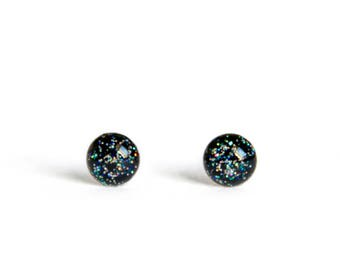 Black Holographic Shimmer Tiny stud earrings 4mm sparkly post earrings - hypoallergenic surgical steel stud earrings - 4mm Teeny tiny new