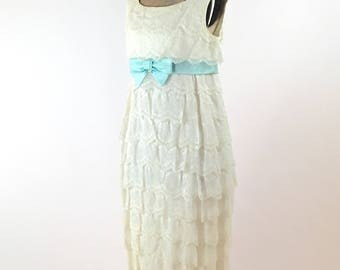 1960s White Ruffled Lace Gown Sleeveless Empire Waist White Ruffled Lace Evening Dress Blue Satin Sash and Bow Scoop Neck