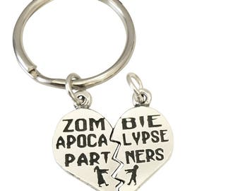 Zombie Apocalypse Partners Necklace and or Key Chain Set