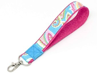 Pink Paisley fabric key fob, Preppy wristlet keychain, turquoise blue wrap with a heavy duty lobster snap hook