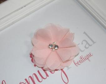 Chiffon Rhinestone/Pearl Flower Clip