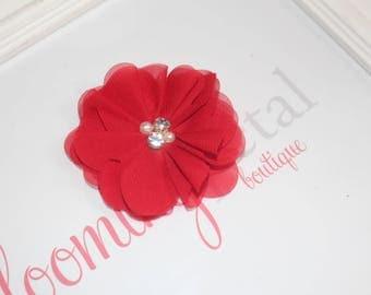 Red Chiffon Rhinestone/Pearl Chiffon Flower Clip