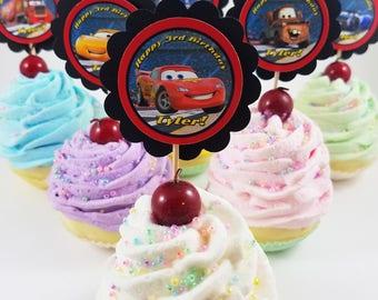 "Personalized Disney's Cars 3 Movie 2"" Scallop Mix n' Match Cupcake Toppers Classroom Party Lightning McQueen Cruz Ramirez Jackson Storm"