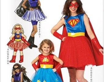 Supergirl, Wonder Woman. Batgirl SUPERHERO Pattern by McCall's Costumes  MP 450