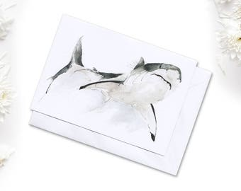 Great White Shark Watercolour A6 Greeting Card // Small print of my Shark watercolour Painting // Art Print // Blank Greeting Cards