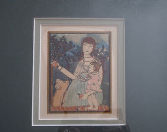 1st Ed Matted Color Lithograph - Pamela Bianco - First Steps - 1919 Poetry Book - Childrens - Walter de la Mare - Very Rare