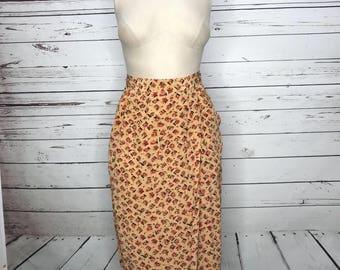 Ladies 70's vintage silk red pattern abstract skirt