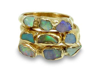 Birthstone, Boho Crystal Ring, Stacking Rings, Opal, Crystal, Multistone Ring, Raw Opal Ring, Raw Stone Ring, Boho Jewelry, Gemstone Ring.