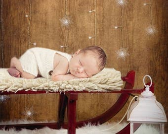 Digital Backdrop, wooden backdrop with red sledge, white lantern & white fluffy sheepskin