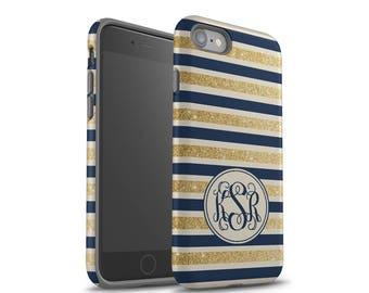 iPhone 7 Case, iPhone 7 Plus Case, iPhone 6 Case, iPhone 8 Plus Case, Samsung Galaxy Case, Galaxy S8 Case, Gold, Navy Blue Stripes, Monogram