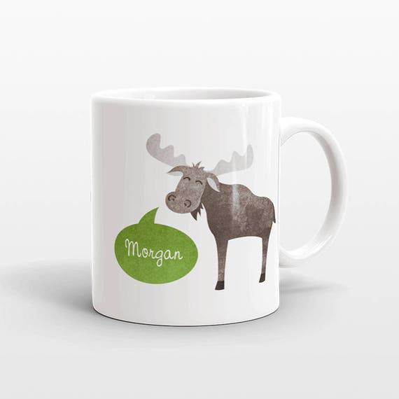 Custom Name Mug, Moose Mug, Personalized Mug, Unique Coffee Mug, Office Mug, Best Friend Gift, Birthday Gift, Cute Animal Lover Gift