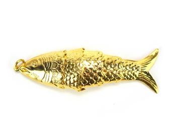 FREE SHIPPING! Large Vintage Brass Fish Charms - Movable Gold Fishing Lures Articulated Koi Fish Jewelry Making Pendant Nautical Beach Ocean
