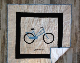 Personalized baby quilt , Baby boy crib bedding, Pram blanket, Homemade baby blanket, Bicycle bedding, Baby boy quilt, Crib bedding for boy
