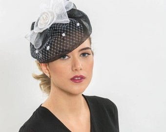 Black sinamay hat, wedding sinamay, Black cocktail hat, bridal fascinators, wedding hat, wedding fascinator, Kentucky derby hat, Fashion Hat