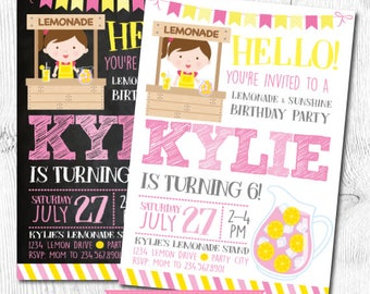 Lemonade Invitation, Pink Lemonade Invitations, Lemonade Stand Invitation, Lemonade Birthday, Pink lemonade party, Digital, 2 Options