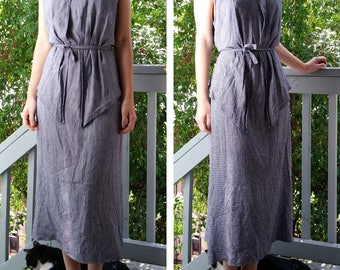 90s Sleeveless Navy White Houndstooth Crepe Layered Dress - XL - reserved