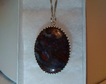 Natural cut & polished Cabochon Jasper stone set in silver with .925 SS Chain
