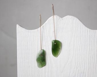 Asymmetric Serpentine Earrings #2 - 14K Gold Filled Jewelry - One Of A Kind