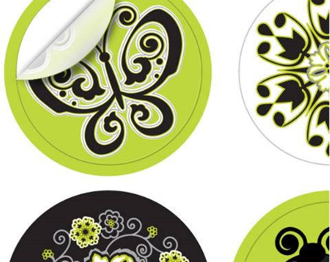 Wine Glass Decals - Summer Bliss 1 Inch Round Reusable Glass Tags, Glass Not included, 12 Per Pack