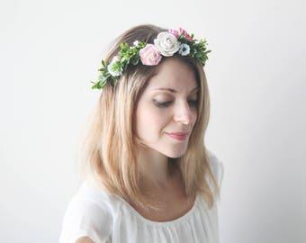 Floral Crown Bridal Wreath Wedding Rustic chic