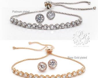 Wedding Earrings Wedding Bracelet set Bridal Earrings CZ Earrings Bridal Bracelet Wedding Jewelry Bridal Jewelry Bridesmaid Bracelet Tvis