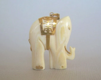 Chinese Lucky Elephant Pendant Charm-Vintage Carved bone & 14kt 585 AU Gold Accents-Asian China Jewelry-01019